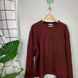 Ibex Red Pullover Wool Sweater